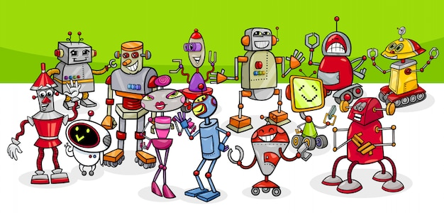 Cartoon illustration of robots fantasy characters group