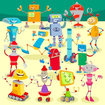 Cartoon illustration of robots large group