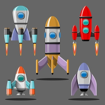 Cartoon illustration rocket launch isolated set. space mission rockets with smoke. illustration in flat style