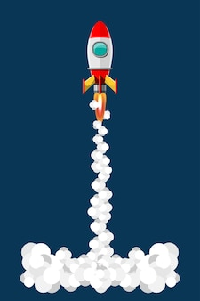 漫画イラストロケット打ち上げ孤立セット。煙のある宇宙ミッションロケット。 3dスタイルのイラスト