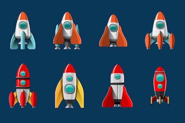 만화 그림 로켓 발사 고립 된 집합입니다. 연기와 함께 우주 임무 로켓입니다. 평면 스타일의 그림