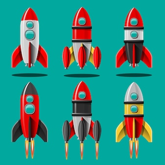 Cartoon illustration rocket launch isolated set. space mission rockets with smoke