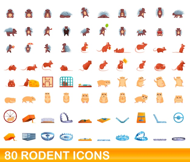 Cartoon illustration of rodent icons set isolated on white