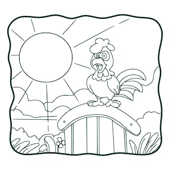 Cartoon illustration rooster crowing book or page for kids black and white