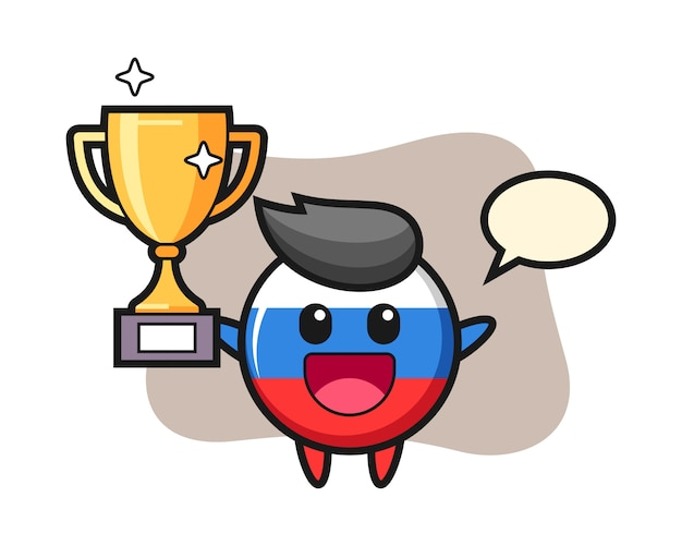 Cartoon illustration of russia flag badge is happy holding up the golden trophy, cute style design