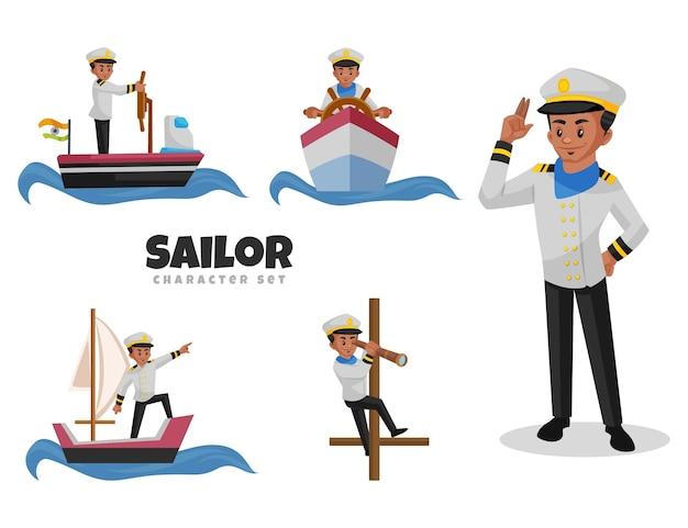 Cartoon illustration of sailor character set