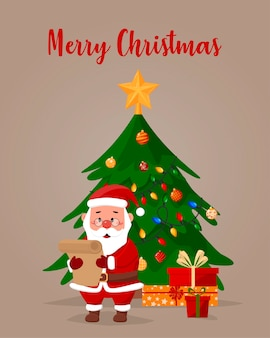 Cartoon illustration. santa claus reads a letter, behind a christmas tree