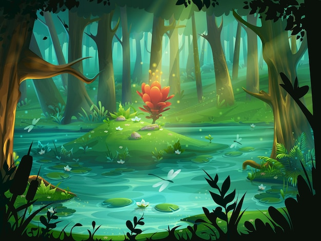 Cartoon illustration the scarlet flower on an island in a swamp in the forest.