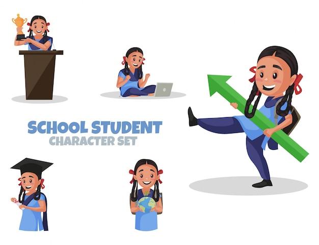Cartoon illustration of school student character set
