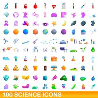 Cartoon illustration of science icons set isolated on white
