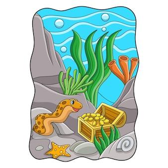 Карикатура иллюстрации морских угрей охраняют сокровища, наполненные золотом в море