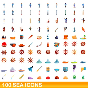 Cartoon illustration of sea icons set isolated on white