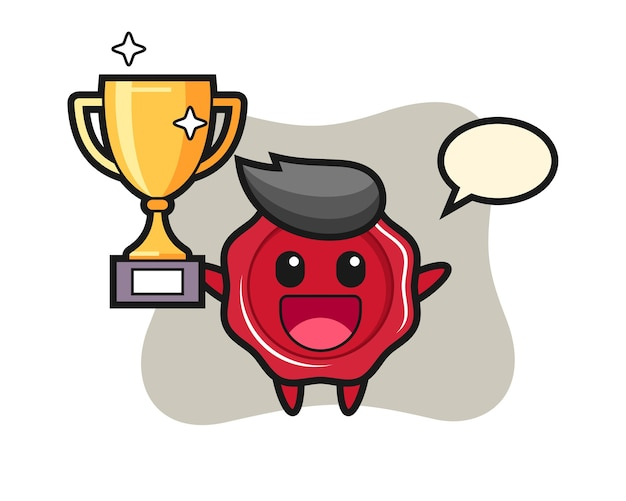 Cartoon illustration of sealing wax is happy holding up the golden trophy