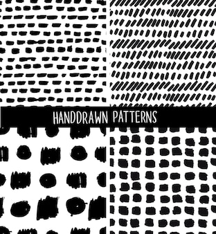 Cartoon  illustration of seamless pattern set of hand drawn ink marks.