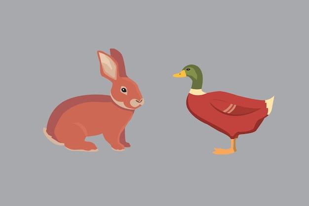 白い背景のepsに分離された漫画イラストセット家畜