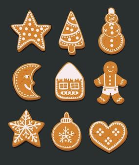 暗い背景の上のジンジャーブレッドクッキークリスマスの漫画イラストセット