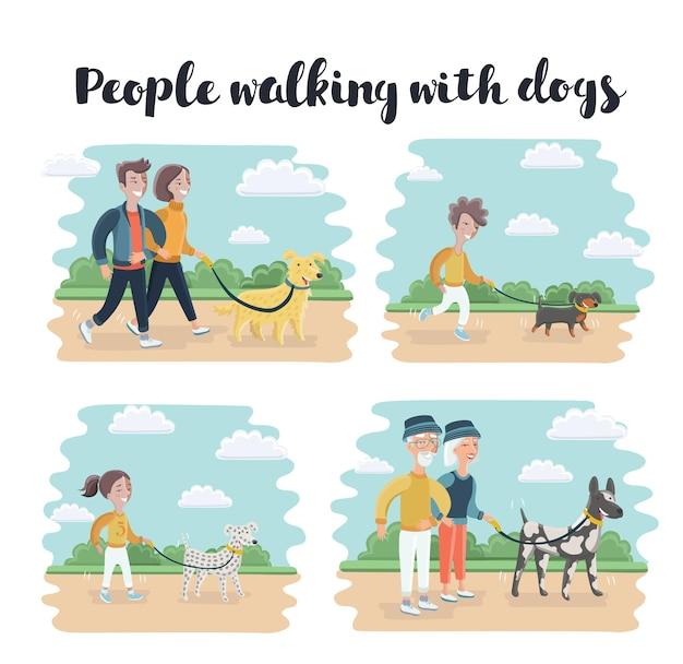異なる品種の犬と一緒に歩く人々の漫画イラストセット