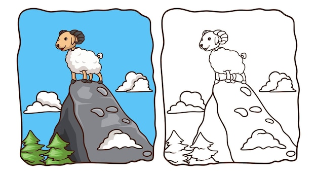 Cartoon illustration the sheep is on the big rock coloring book or page for kids