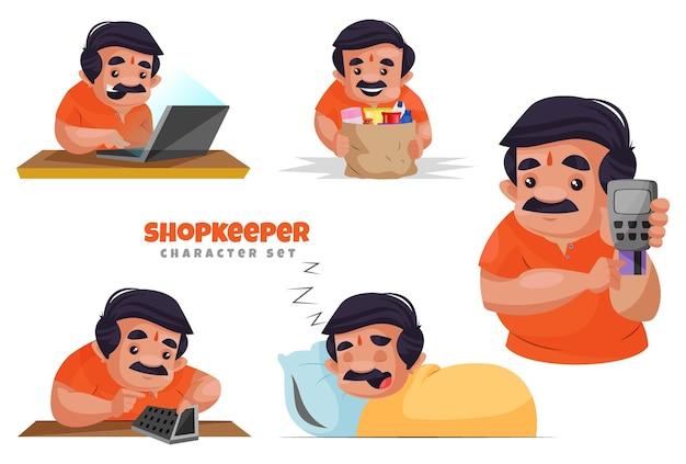 Cartoon illustration of shopkeeper character set