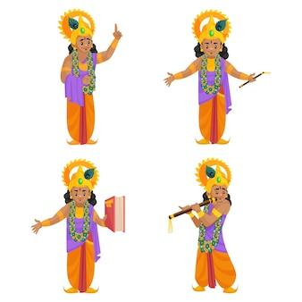 Cartoon illustration of shree krishna character set