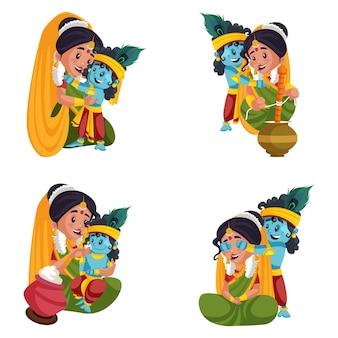 Cartoon illustration of shree krishna and radha character set