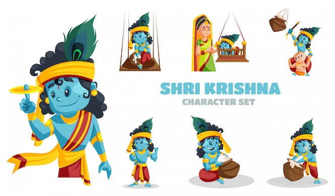 Cartoon illustration of shri krishna character set