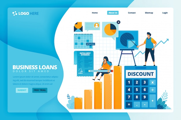 Cartoon illustration of signing loan interest discount agreement for business stimulus. banking tax amnesty to prevent bankruptcy.  design for landing page website web banner mobile apps poster