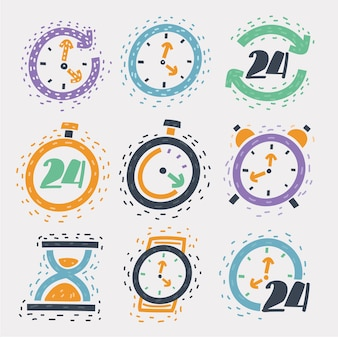 Cartoon illustration of sketch icon set time and clock wristwatch, hourglass, round the clock