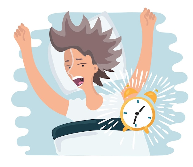 Cartoon illustration of slept through woman woke up