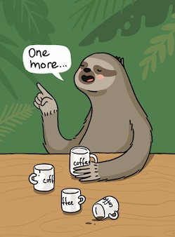 Cartoon illustration sloth with coffee