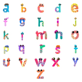 Cartoon illustration of small alphabet set.