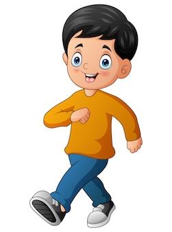 Cartoon illustration of smiling a boy walking