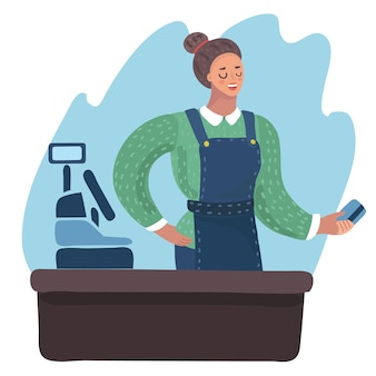 Cartoon illustration of smiling cashier girl holding plastic credit card in her hand.
