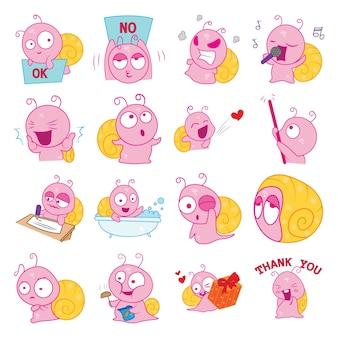 Cartoon illustration of snail set