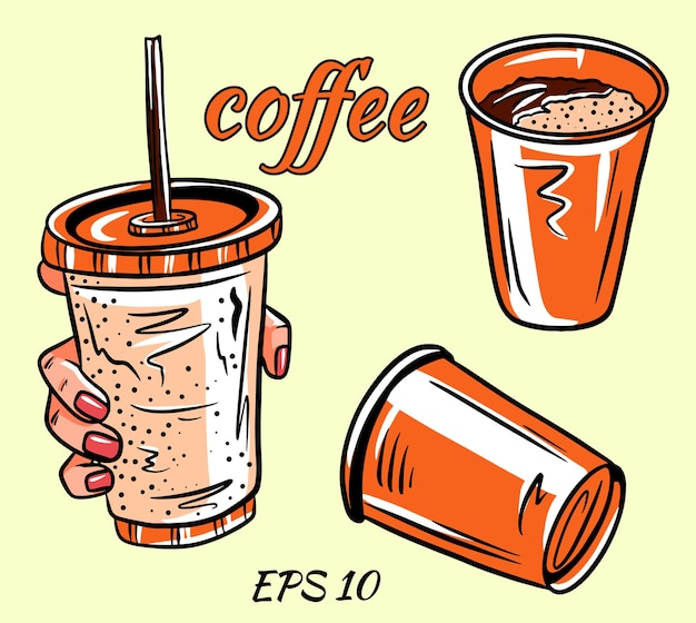 Cartoon illustration of some cup of coffee fit for menu, label, collection and assets.