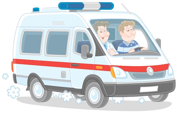 Cartoon illustration of a special medical vehicle with ambulancemen hurrying to rescue
