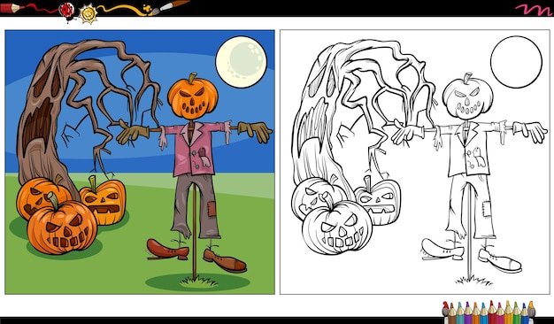 Cartoon illustration of spooky halloween characters coloring book page