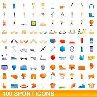 Cartoon illustration of sport icons set isolated on white