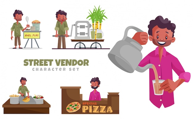 Cartoon illustration of street vendor character set