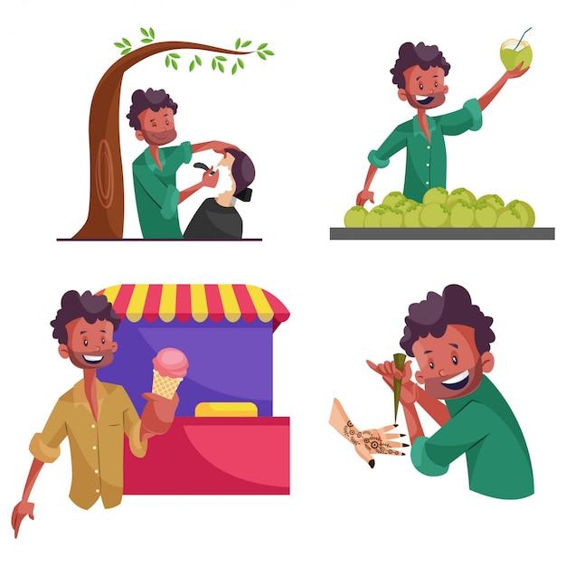 Cartoon illustration of street vendor character set