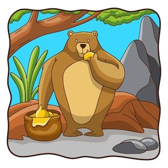 Cartoon illustration sun bear eating honey