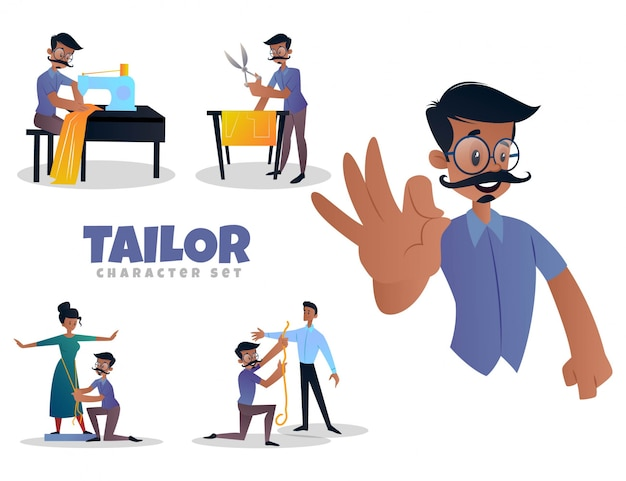 Cartoon illustration of tailor character set