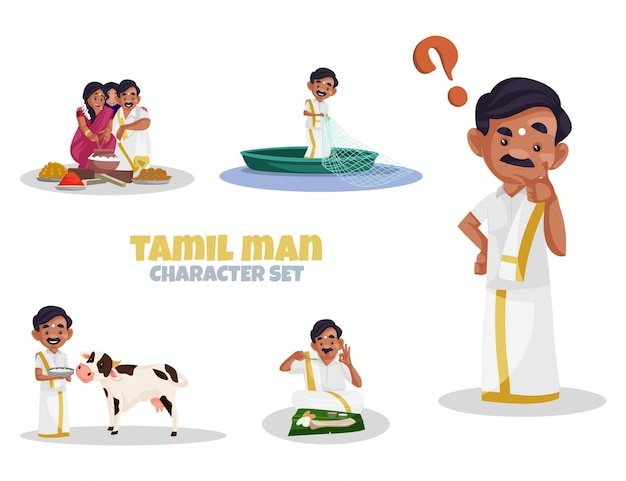 Cartoon illustration of tamil man character set