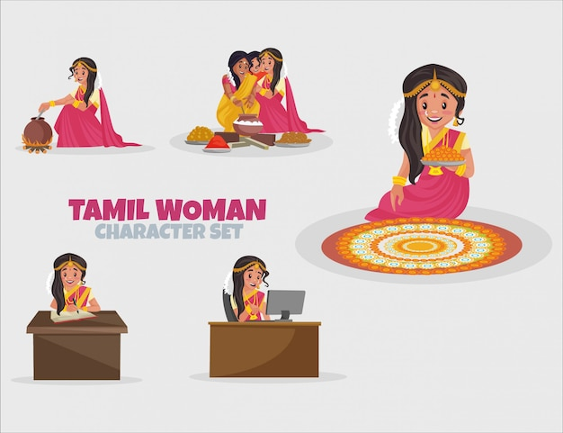 Cartoon illustration of tamil woman character set