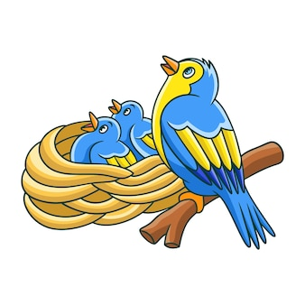 鳥が巣にいる漫画イラスト