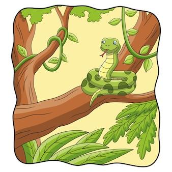 만화 그림 뱀이 나무에 있다
