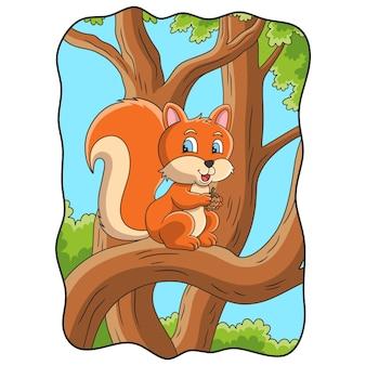 Иллюстрация шаржа белка сидит на стволе дерева посреди леса