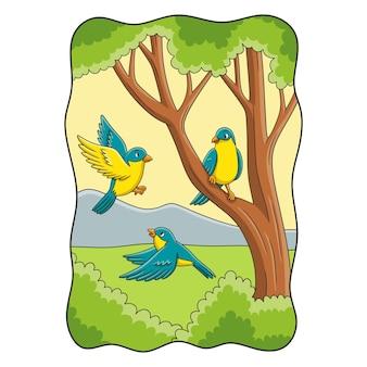 만화 그림 숲 한가운데 나무에서 노는 세 마리의 새