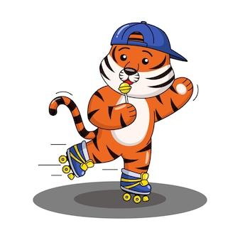Cartoon illustration of a tiger playing roller skates