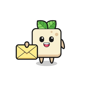 Cartoon illustration of tofu holding a yellow letter , cute style design for t shirt, sticker, logo element